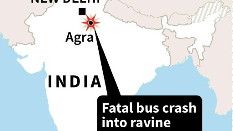 Map of India locating a bus crash near Agra that killed at least 29 people on Monday, according to police.