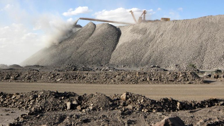 A mining machine is seen at the Bayan Obo mine containing rare earth minerals.