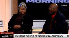 Sinenhlanhla Mchunu and Solly Mapaila during a Morning Live interview.