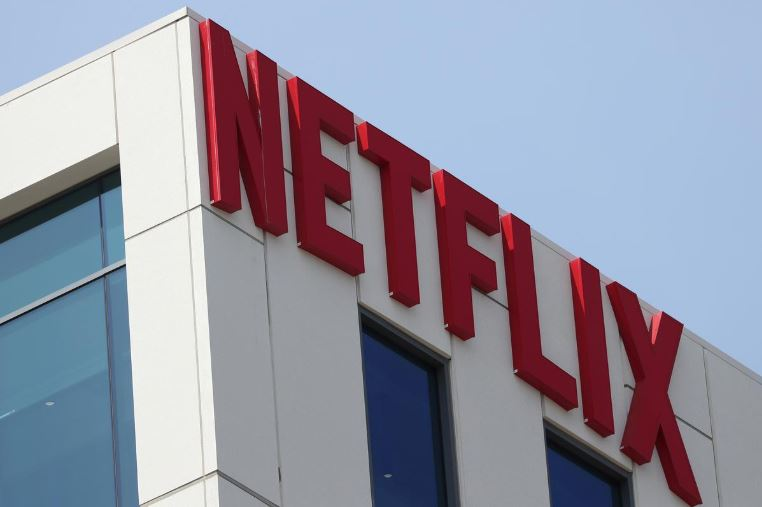 The Netflix logo is seen on their office in Hollywood, Los Angeles.