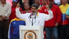 Venezuela's President Nicolas Maduro talks during a rally in support of the government in Caracas, Venezuela.