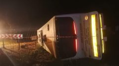 lettenberg Bay: Three people died, 43 injured with multiple injuries were rushed to hospital, 2 others are still trapped under a bus. Bus driver lost control while driving on the alternative road as the N2 is still closed due to a protest.
