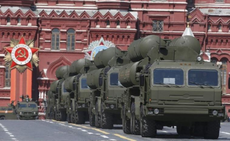 Russian S-400 Triumph medium-range and long-range surface-to-air missile systems drive during the Victory Day parade at Red Square in Moscow.