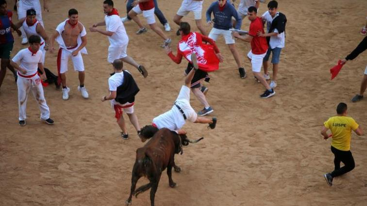 SABC News Spain Bull running Reuters - One gored among dozens injured at bull-running in Spain