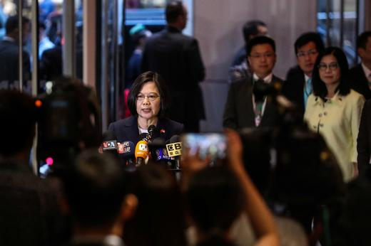 Taiwan President Tsai Ing-wen speaks at Taipei Economic and Cultural Office in New York during her visit to the U.S., in New York.