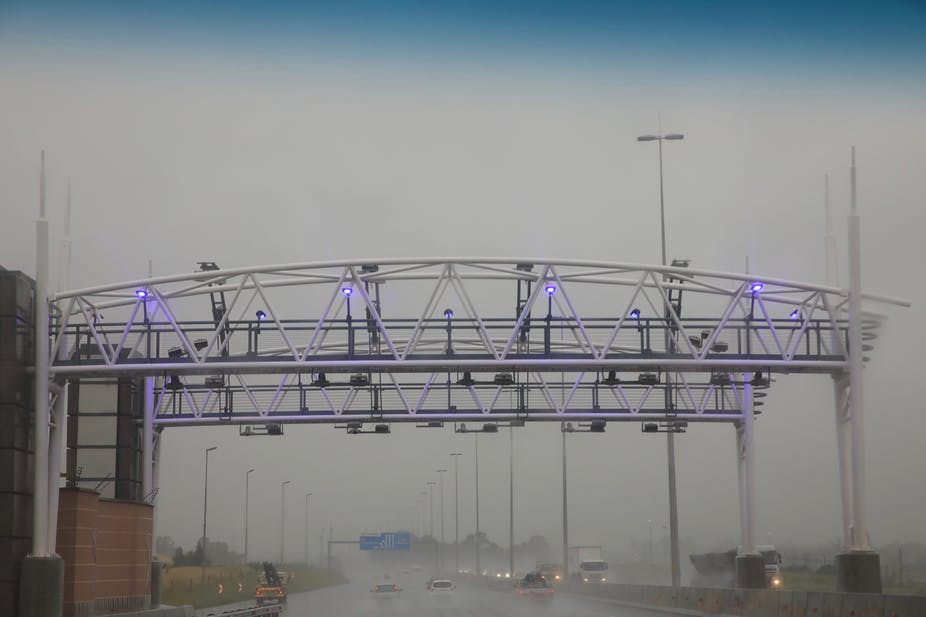 An electronic toll gantry on a Johannesburg highway.