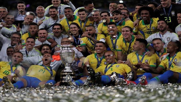 Brazil celebrating victory