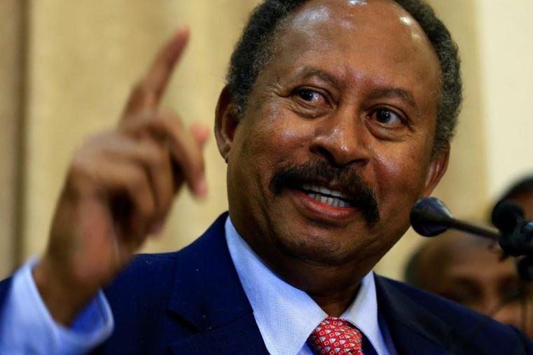 Sudan's new Prime Minister in the transitional government Abdalla Hamdok, addresses a news conference in Khartoum, Sudan