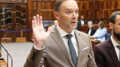 Brett Herron being sworn in as For Good Member of the Provincial Parliament.