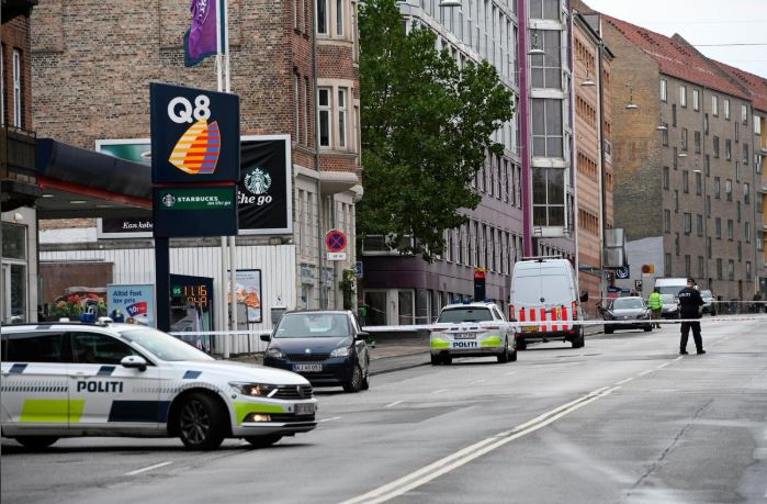 Danish police is seen outside a local police station, following an explosion in Copenhagen, Denmark.