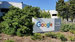 A sign is pictured outside a Google office near the company's headquarters in Mountain View, California.