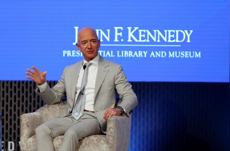 Jeff Bezos, founder of Amazon and Blue Origin speaks during the JFK Space Summit, celebrating the 50th anniversary of the moon landing.