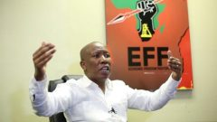 Julius Malema, the head of South Africa's Economic Freedom Fighters party (EFF), gestures during an interview.