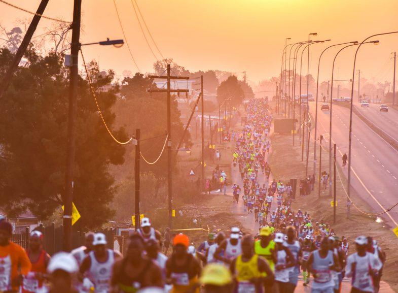 Runners of the 2017 Mandela Marathon make their way through Edendale. photo. Jonathan Burton.
