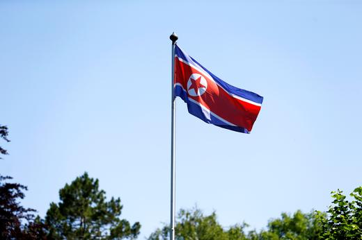 The flag of North Korea is seen in Geneva, Switzerland