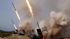 """North Korean military conducts a """"strike drill"""" for multiple launchers and tactical guided weapon."""
