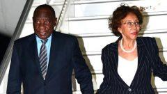 Ramaphosa arriving in Tanzania with his wife