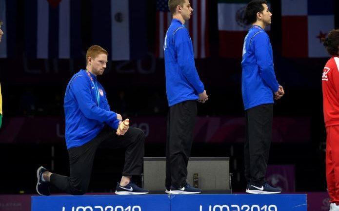 XVIII Pan American Games - Lima 2019 - August 11, 2019 - From left to right: Race Imboden, Nick Itkin, and Gerek Meinhardt, from the USA Team during the Men's Foil Team medal ceremony in Fencing, at the Lima Convention Center during the Pan American Games.