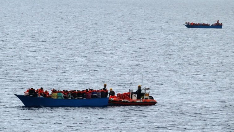 "Migrants on a wooden boat are rescued by German NGO Jugend Rettet ship ""Juventa"" crew in the Mediterranean sea off Libya coast."