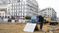A man works at the construction site in Algiers, Algeria.