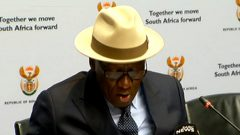 Police Minister Bheki Cele during a police briefing.