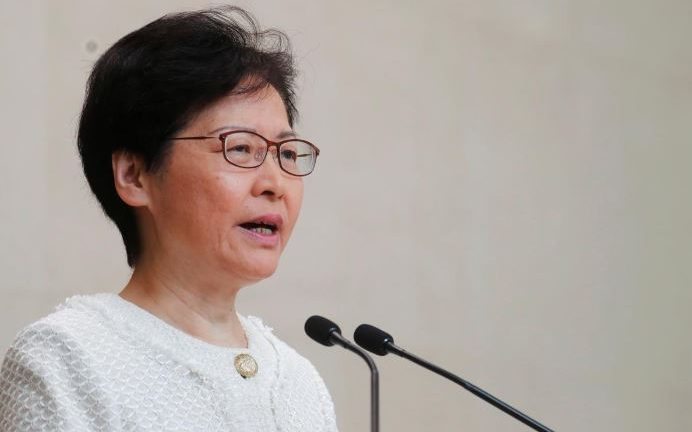 Hong Kong's Chief Executive Carrie Lam attends a news conference in Hong Kong, China.