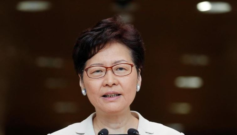 Hong Kong's Chief Executive Carrie Lam attends a news conference in Hong Kong.