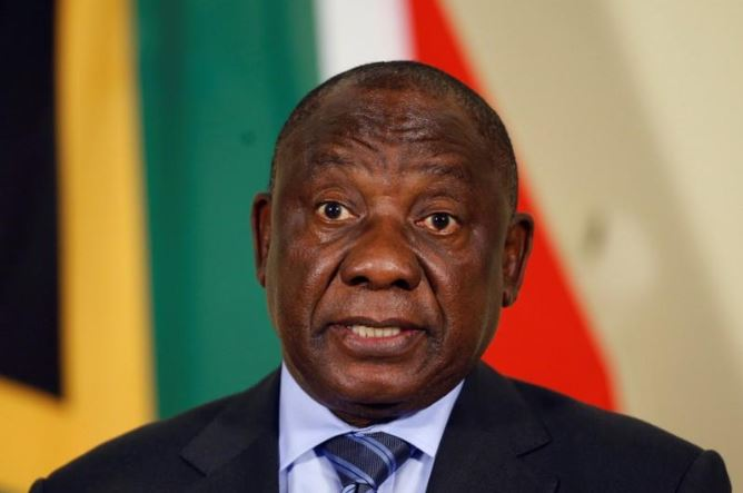 President Cyril Ramaphosa gestures after announcing Shamila Batohi (not pictured) as the country's new chief prosecutor, at the Union building in Pretoria, South Africa, December 4, 2018.