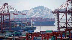 Containers are seen at the Yangshan Deep Water Port in Shanghai, China.
