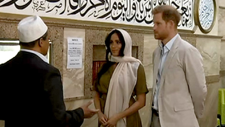SABC News Duke and Duchess inside mosque 2 - Prince Harry and Meghan visit SA's oldest mosque