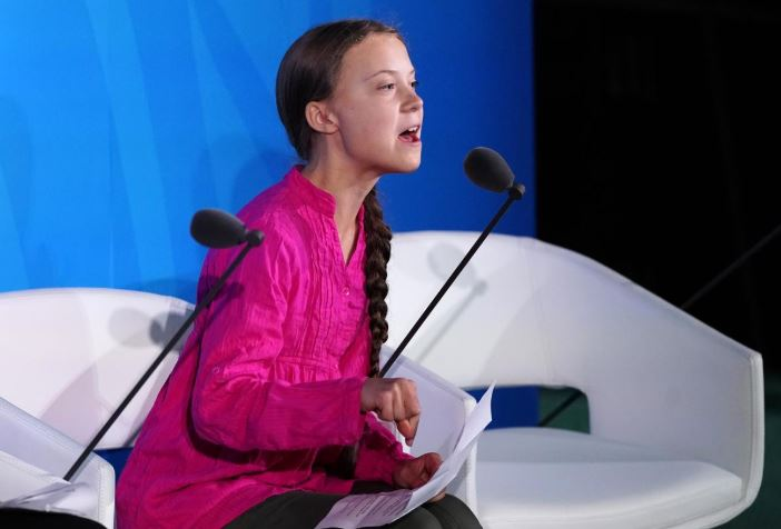 16-year-old Swedish Climate activist Greta Thunberg speaks at the 2019 United Nations Climate Action Summit at U.N. headquarters in New York City.