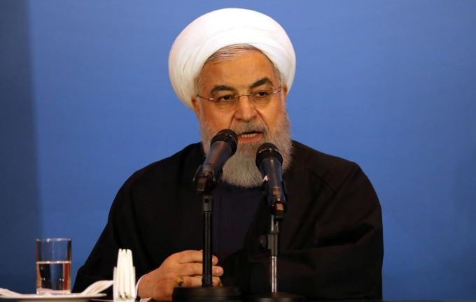 Iranian President Hassan Rouhani speaks during a visit to Kerbala, Iraq.