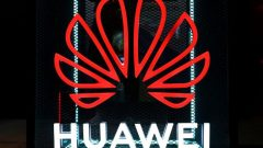 The Huawei logo is pictured at the IFA consumer tech fair in Berlin.