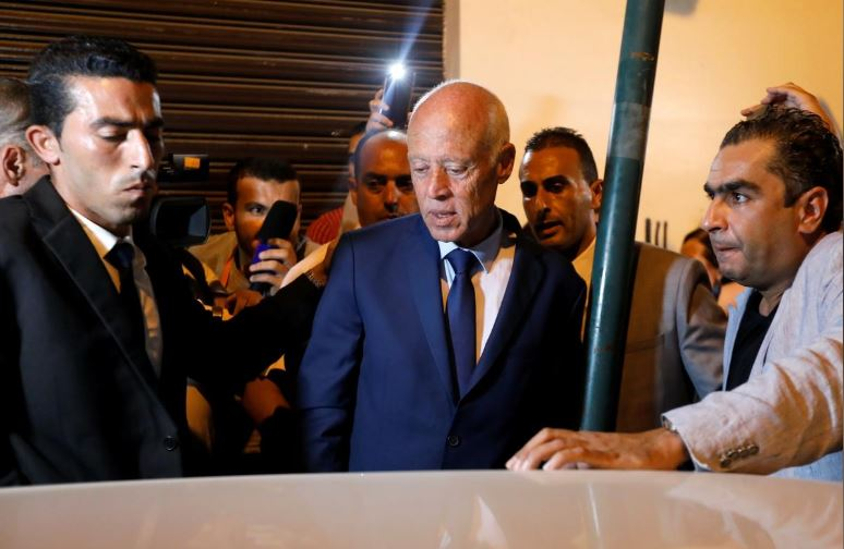 Presidential candidate Kais Saied is pictured after unofficial results of the Tunisian presidential election in Tunis, Tunisia.