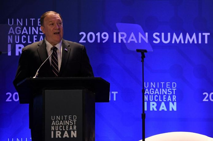 US Secretary of State Mike Pompeo speaks during the United Against Nuclear Iran Summit on the sidelines of the United Nations General Assembly in New York City.