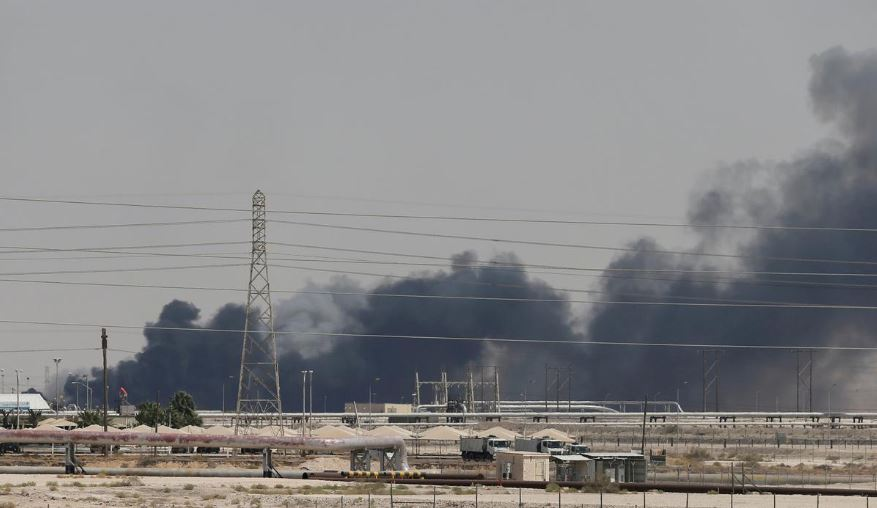 Smoke is seen following a fire at Aramco facility in the eastern city of Abqaiq, Saudi Arabia.