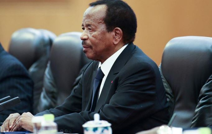 Cameroon President Paul Biya meets with Chinese President Xi Jinping (not pictured) in Beijing.