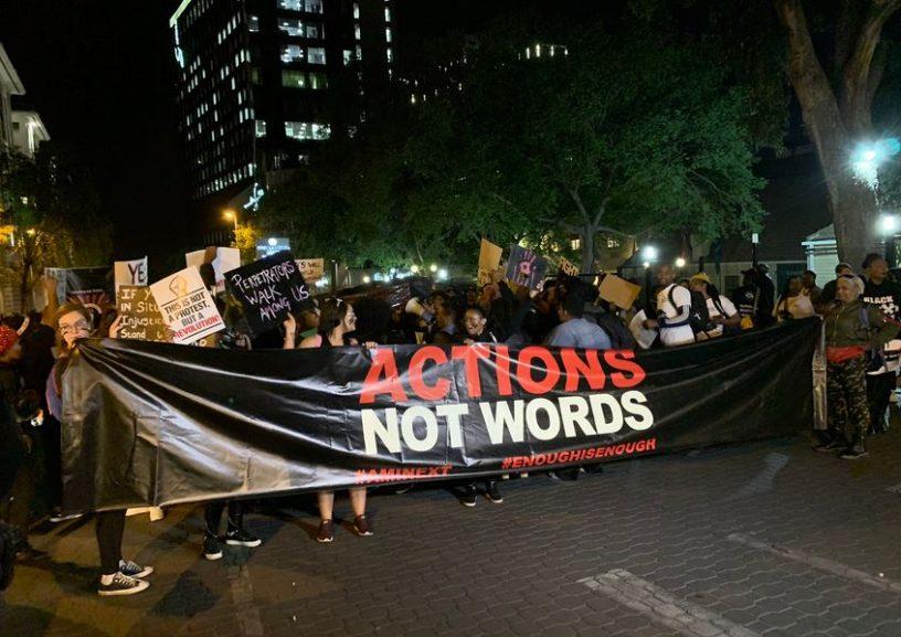 SABC News Sandton protest Twitter ChangeAgentSA 1 816x577 - JSE receives gender-based violence protest memorandum
