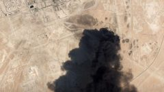 A satellite image shows an apparent drone strike on an Aramco oil facility in Abqaiq, Saudi Arabia.