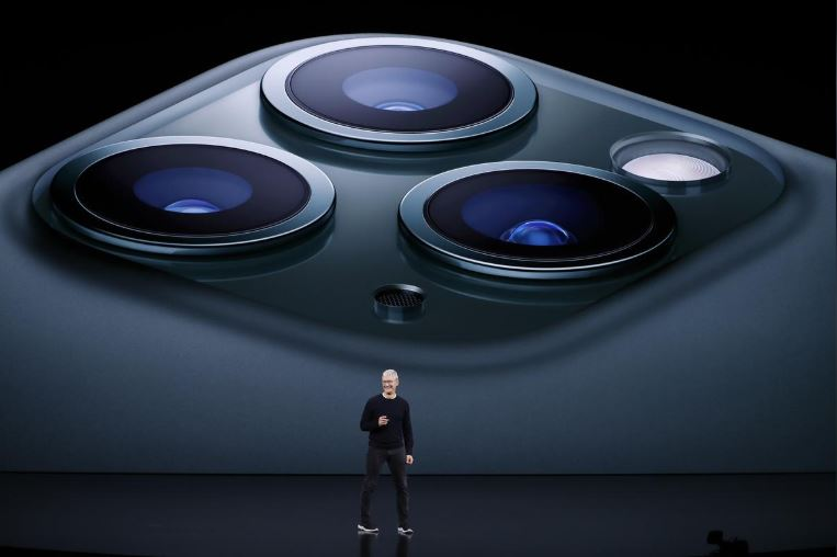 CEO Tim Cook presents the new iPhone 11 Pro at an Apple event at their headquarters in Cupertino, California.