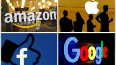 The logos of Amazon, Apple, Facebook and Google are seen in a combination photo from Reuters files.