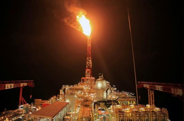 Kaombo Norte floating oil platform is seen at night off the coast of Angola.