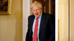 Britain's Prime Minister Boris Johnson is seen ahead of the meeting with European Parliament President David Sassoli, at Downing Street.