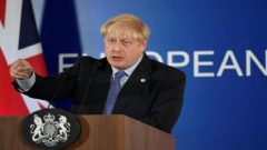 Britain's Prime Minister Boris Johnson speaks during a news conference at the European Union leaders summit dominated by Brexit, in Brussels.