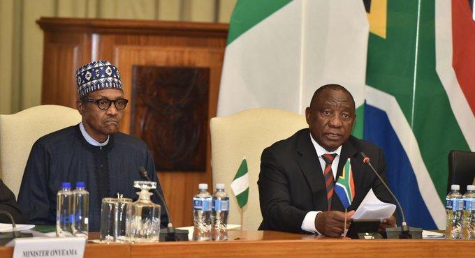 SABC News Buhari Ramaphosa @PresidencyZA - Buhari urges SA to relax its regulations for Nigerian businesses