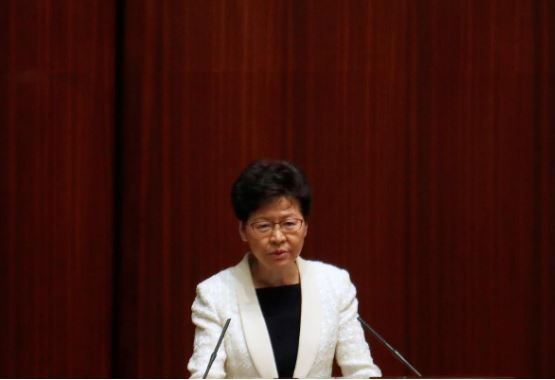 Hong Kong's Chief Executive Carrie Lam takes questions from lawmakers regarding her policy address, at the Legislative Council in Hong Kong.