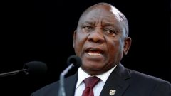 Cyril Ramaphosa speaks after taking the oath of office at his inauguration as South African president.