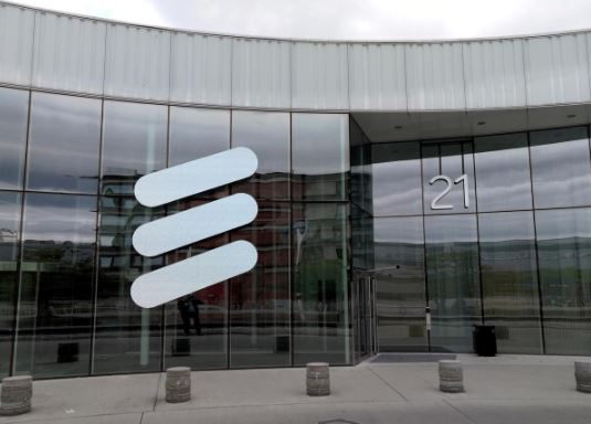 The Ericsson logo is seen at the Ericsson's headquarters in Stockholm, Sweden.