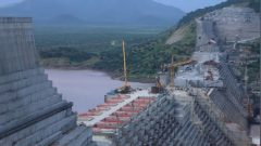 Ethiopia's Grand Renaissance Dam is seen as it undergoes construction work on the river Nile in Guba Woreda.