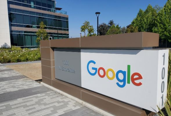 A sign is pictured outs a Google office near the company's headquarters in Mountain View.